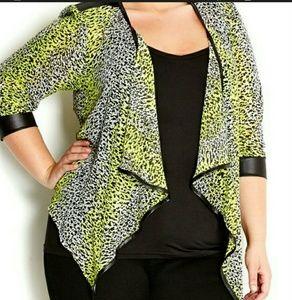 XL/22 City Chic Cheetah Print Sheer Jacket Blazer
